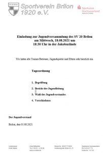 Einladung Jugendversammlung 2021